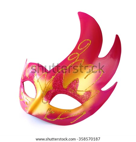 pink and gold carnival mask isolated on white  - stock photo