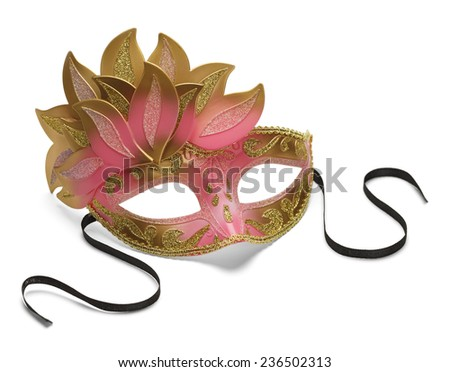 Pink and Gold Feathered Venetian Mask Isolated on White Background. - stock photo