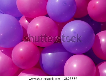 pink and lilac party balloons close-up - stock photo