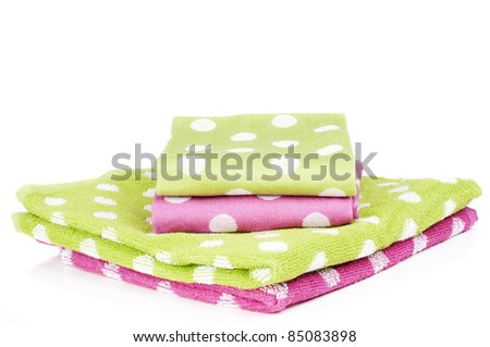 pink and lime polka dots towels - stock photo