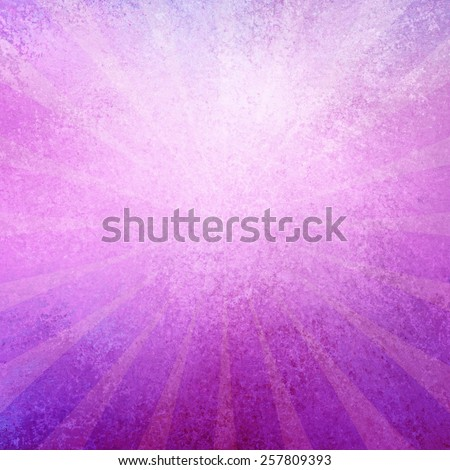 pink and purple retro sunburst pattern background with radial striped lines and distressed vintage grunge background texture with blurred white center for text or typography - stock photo