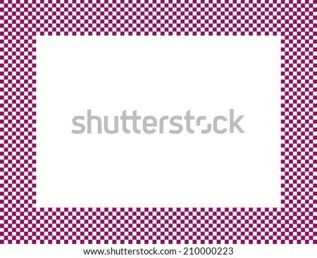 Pink and White Checkered Frame Background with center isolated for copy-space - stock photo