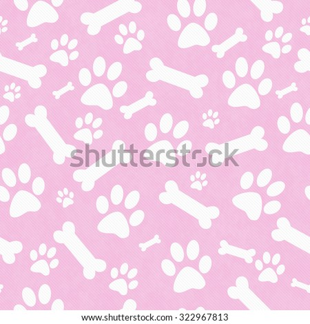 Pink and White Dog Paw Prints and Bones Tile Pattern Repeat Background that is seamless and repeats - stock photo