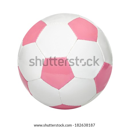 Pink and white soccer ball isolated on white background - stock photo