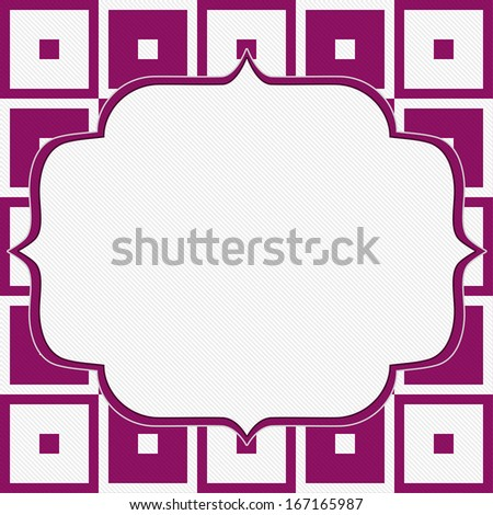Pink and White Tapestry Square Fabric Background with center copy-space, Retro Background - stock photo