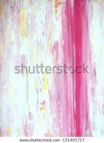 Pink and Yellow Abstract Art Painting - stock photo