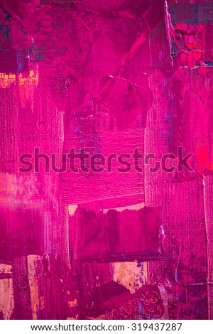 Pink and yellow color oil painting texture. Abstract background  - stock photo