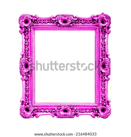 Pink antique baroque frame, isolated on white background - stock photo