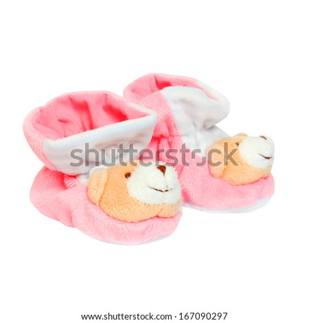 pink baby boots Isolated on white background - stock photo
