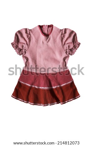 Pink baby dress with lantern sleeves isolated over white - stock photo