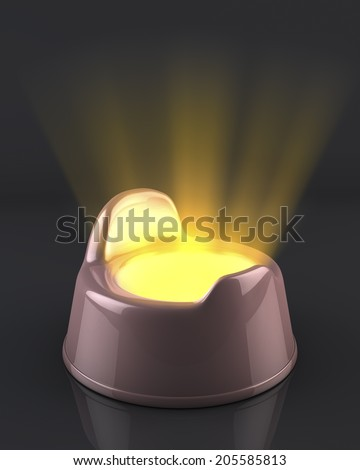 Pink baby girl potty on reflecting black background, with light beams shining out of it, strange, unusual depiction of babies first poo, potty-training, 3d rendering - stock photo