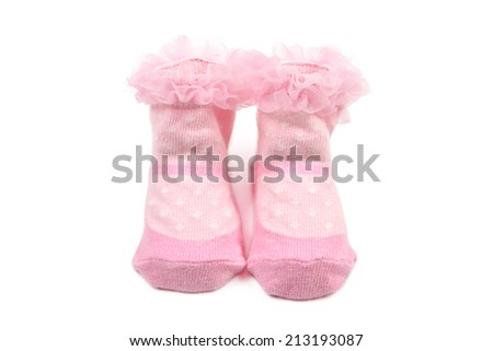 Pink baby socks isolated on white background - stock photo