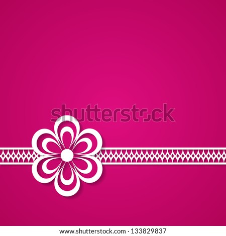 pink background with a lace and a flower (raster version of the vector) - stock photo