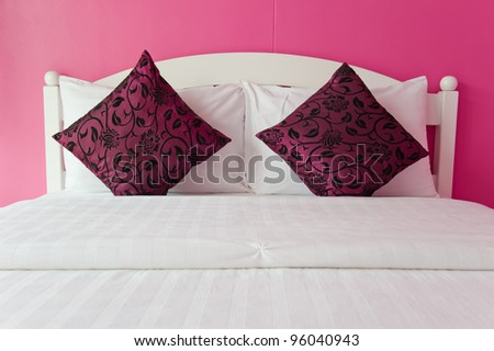 Pink Bedroom in a modern house - home interiors. - stock photo