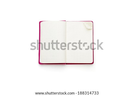 pink blank squared open diary, isolated on white. - stock photo