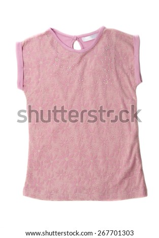 Pink blouse with floral pattern. Isolate on white. - stock photo