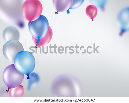 pink blue and purple balloons on light background - stock photo