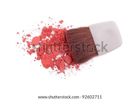 Pink blush and brush isolated on white - stock photo