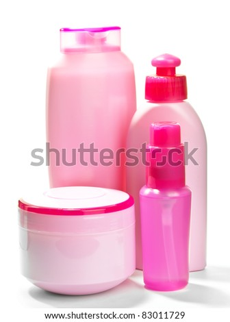 Pink bottles for cosmetics - stock photo