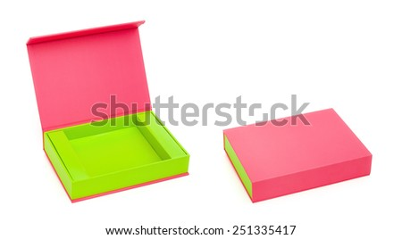 pink box opened and closed on white with clipping path - stock photo