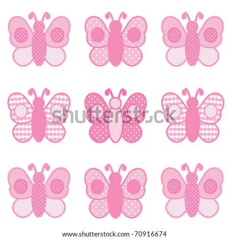 Pink Butterflies in pastel pink gingham, checks and polka dots for baby books, scrapbooks and albums. - stock photo