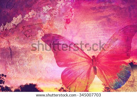 Pink butterfly background, old paper design, postcard, printable on canvas, good for scrapbooking - stock photo