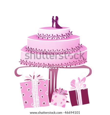 Pink Cake - stock photo