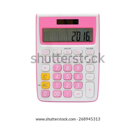 Pink calculator isolated on white background - stock photo