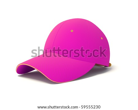 pink cap on white background - stock photo