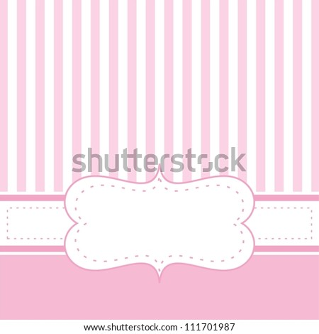 Pink card invitation for baby shower, wedding or birthday party with white stripes. Cute background with white space to put your own text. - stock photo