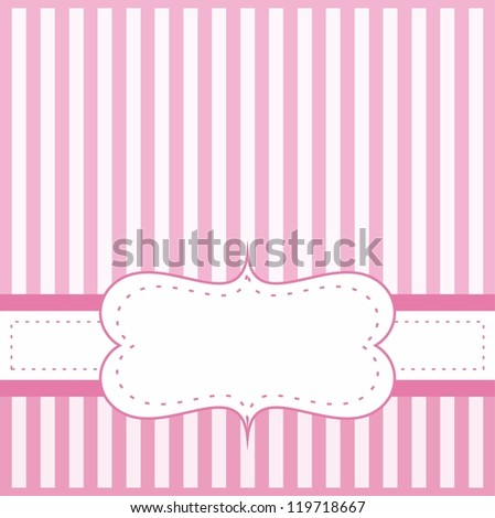 Pink card or invitation for baby shower, wedding or birthday party with white stripes on cute pink background with white space to put your own text message. - stock photo