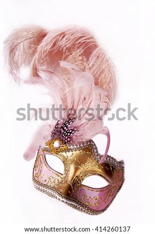 Pink carnival mask - stock photo