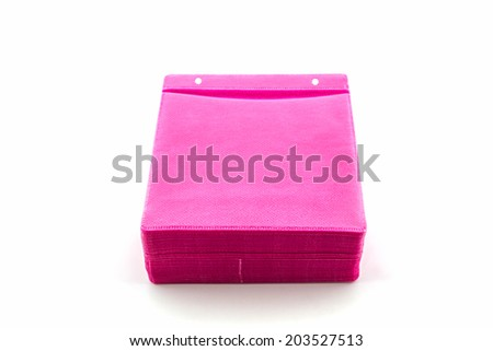 Pink CD paper case on white background. - stock photo