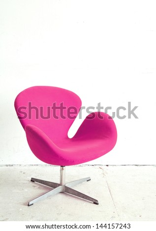 Pink Chair contemporary style in vintage room - stock photo