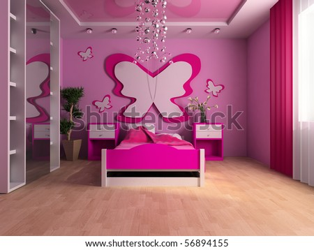 Pink children's room with a bed 3d image - stock photo