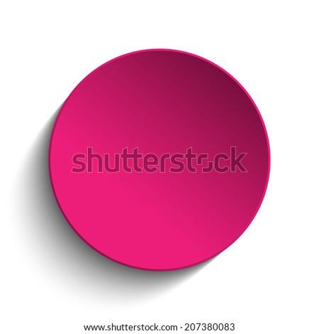 Pink Circle Button on White Background - stock photo