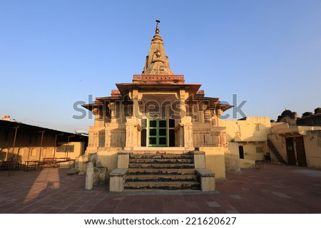 Pink City, old temple, Jaipur, India - stock photo