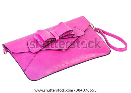Pink clutch bag isolated on white background - stock photo