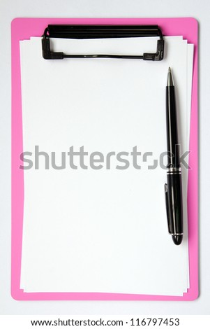 Pink color clip board with blank paper and ball pen - stock photo