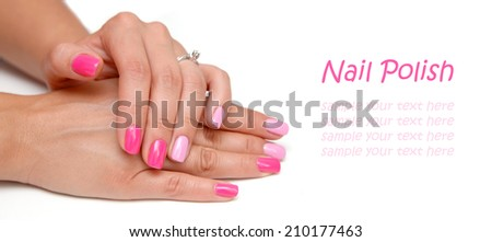 Pink colored manicure - stock photo