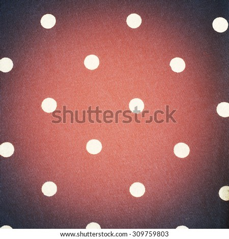 Pink Cotton Fabric with White Dots Pattern and Vignette, Texture background, retro style  - stock photo