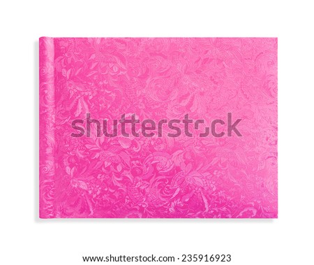pink cover hardcover pattern book on white - stock photo
