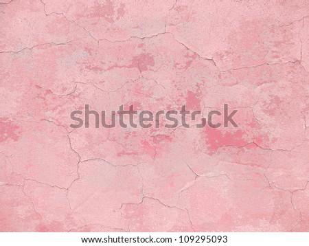 Pink cracked grunge wall background - stock photo