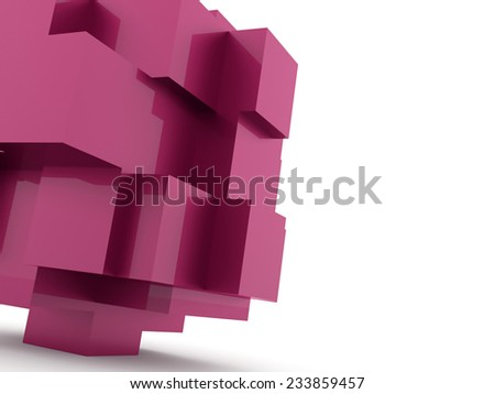 Pink cubes icon concept rendered on white background - stock photo