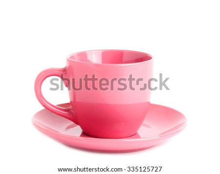 pink cup isolated white background - stock photo