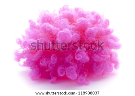 pink curly wig - stock photo