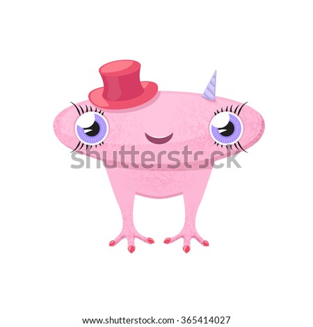 Pink cute monster-girl with big head, horns and red hat. Raster version - stock photo