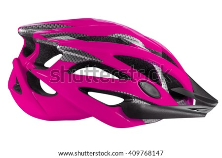 Pink cycling helmet isolated on white. Clipping path included. - stock photo
