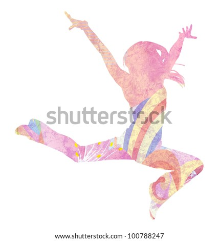 pink dancing girl silhouette grunge colorful illustration - stock photo