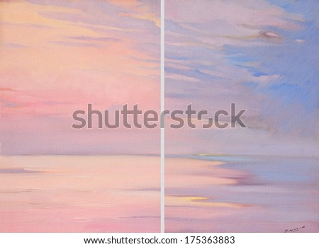 pink dawn on the sea, painting by oil on canvas,  illustration - stock photo